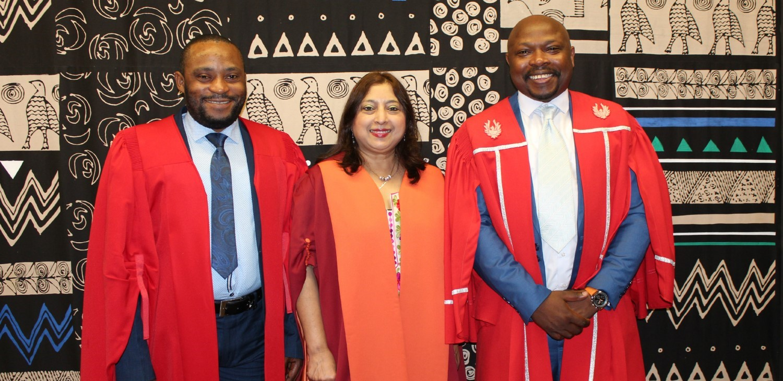 PhD graduates Dr Samuel Fikiri Cinini (left) and Dr Patrick Bashizi Bashige Murhula, with UKZN's Professor Shanta Balgobind Singh.