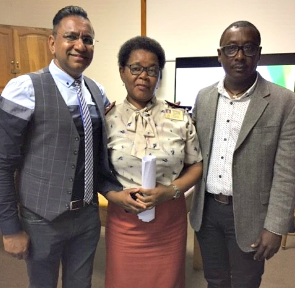 From left: McCord Hospital CEO Dr Jay Mannie, senior occupational health nurse Ms Sibongile Nyathikazi and Professor Johannes John-Langba