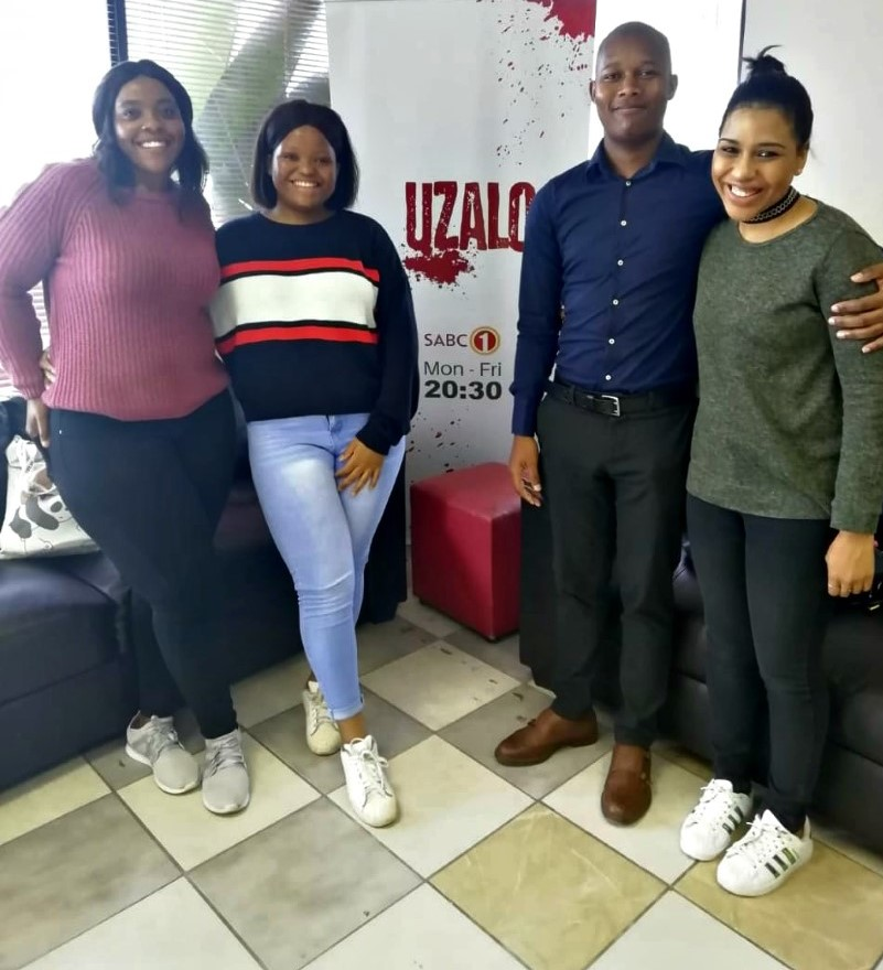 CCMS students who visited the Uzalo TV show studio - (from left) Ms Rethabile Moeketsi, Ms Nolwazi Ngcobo, Mr Qiniso Mbili and PhD candidate Ms Shannon Landers.