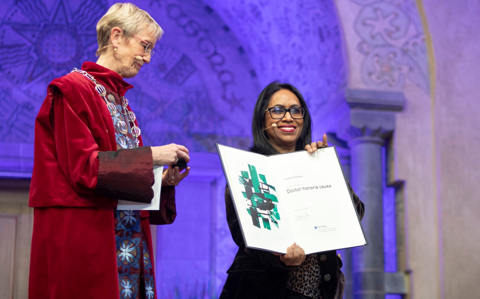 Professor Vishanthie Sewpaul with the Rector of the Norwegian University of Science and Technology, Dr Anne Borg.